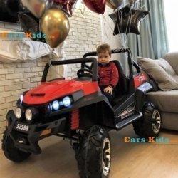Электромобиль двухместный BUGGY (Т009ТТ) красный (полный привод, резиновые колеса, кожаное кресло, пульт)